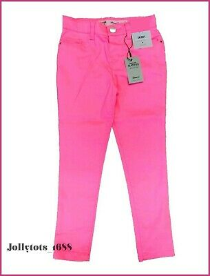 NEW Girls Plain Skinny Jeans Trousers Age 9-10 Years Pink or Aqua Blue Jeans