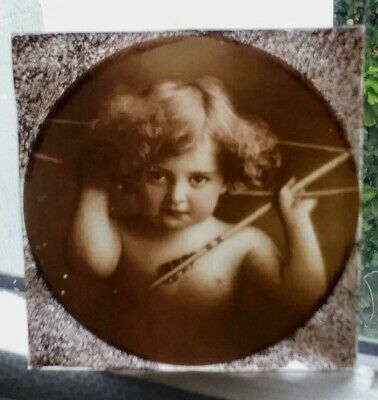 Stained Glass - Cherub / Cupid / Angel  pane Kiln fired 1 of 3 for sale