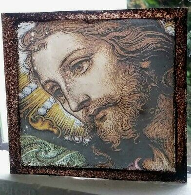 Stained Glass - Jesus Christ pane Kiln fired transfer & paint pane