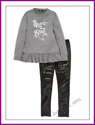 V by Very Girls Sequin Legging & Long Sleeved Top Set 12 to 15 Years BNWT