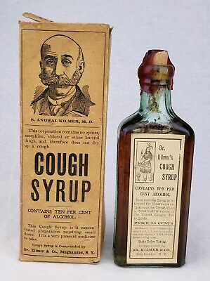 Dr. Kilmer's Indian Cough Syrup Cure Binghamton NY Antique Bottle Box Contents!