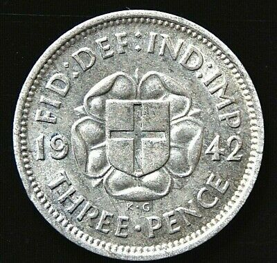 British Coin - George VI 1942 Silver Threepence - Issued for colonial use