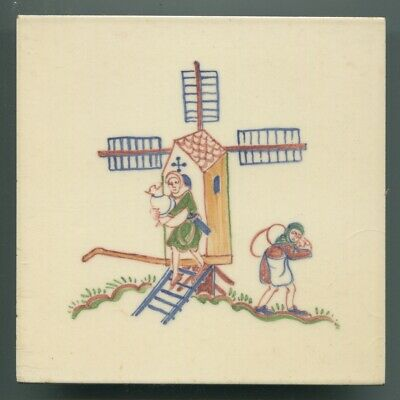"Handpainted 6""sq tile from the ""Medieval Crafts"" series by Packard & Ord 1952"