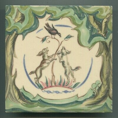 "Handpainted 6""sq tile from the ""Pastoral"" series by Packard & Ord 1952"