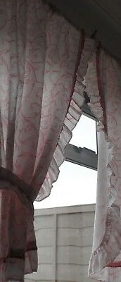 Retro Curtains/ Pink & White Frilled/ Tie Backs/ Unlined
