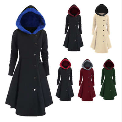 Ladies Coats Jacket Large Size Asymmetric Contrast Hooded Skirted Casual Long