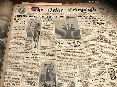 Old July 19 1932  Newspaper Clyde Chastain boxing Kaye Don speedboat Hitler