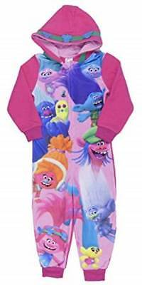 Girls Trolls All In One Pyjamas Trolls 1onesie One Piece Pjs NEW Genuine 5-10 yr