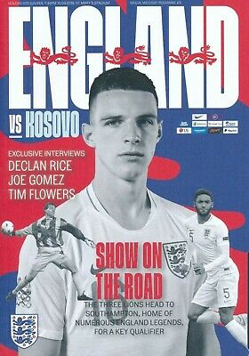 ENGLAND vs KOSOVO EURO 2020 QUALIFIER PROGRAMME SOUTHAMPTON 10th September 2019