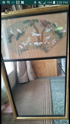 Chinese Watercolor Painting on rice paper with antique bamboo mirror