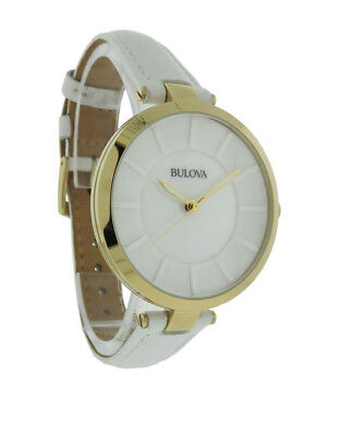 Bulova 97L140 Women's Round Glossy White Analog Gold Tone Watch
