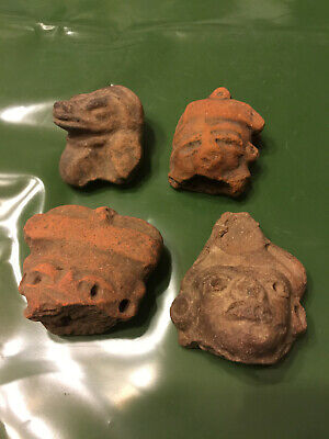 Pre Columbian Mayan (4) Head Figures Authentic  In A Bundle Deal See Photos