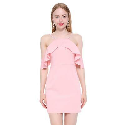 Summer Cold Shoulder Ruffle Women Sexy Backless Bodycon Short Mini Dress #gib