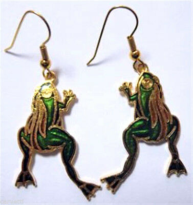 Vintage 1980's Cloisonne Enamel Leaping Frogs Gold Tone Earrings (1 pair) NEW!