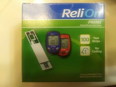 ReliOn Prime Blood Glucose Test Strips, 100 Count, EXP 02/2021+ free shipping !