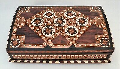 """Antique Inlaid MARQUETRY WOOD Jewelry BOX Amazing Patterns 9x5.5x3"""" Velvet Lined"""