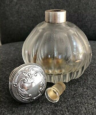 Vintage Repousse Sterling Silver Top LARGE OVERSIZED Perfume Bottle SPAIN
