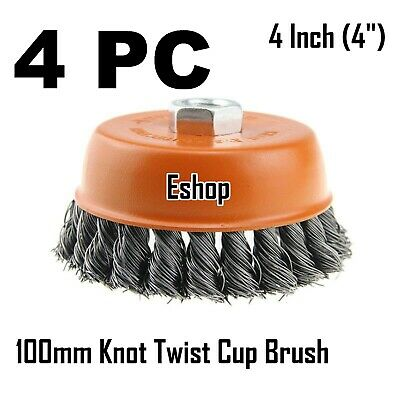 """4 x 4"""" Wire Cup Brush Wheel for 4-1/2"""" Angle Grinder 5/8-11 Twist Knot Hoteche"""