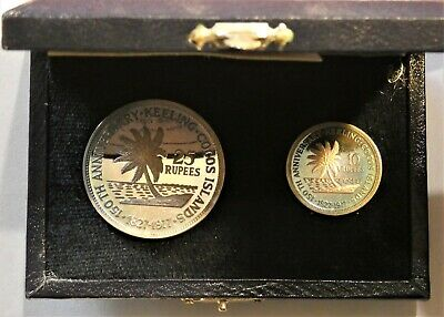 1977 Cocos Keeling Islands 10 & 25 Rupees pair of proof coins in case - toned