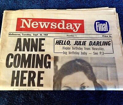 Newsday First Day Edition of Melbourne newspaper 30 September 1969