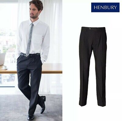 Henbury Mens Black Teflon Coated Flat Front Straight Leg Chino Smart Trousers