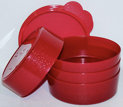 Tupperware 3 Cup Wonders Bowls Set of 4 Sparkle Red - Rare New