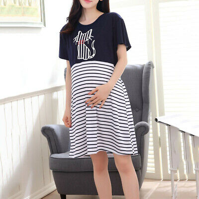 Pregnant Women Short Sleeve Beading Comfy Maternity Breastfeeding Dress 2018 Uk
