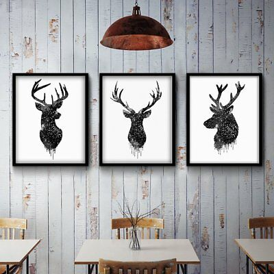 40x50cm Deer Head Animal Minimalist Canvas Poster Watercolor Painting Wall