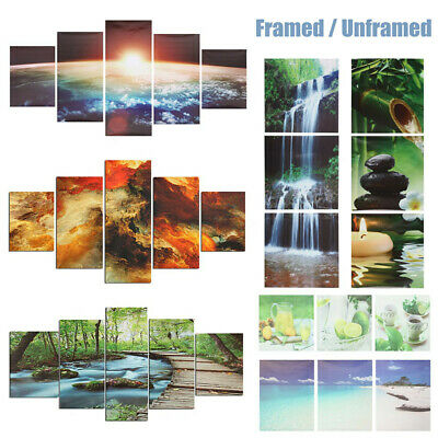 3/5 Pcs Art Oil Painting Canvas Print Pictures Home Wall Decor Framed /
