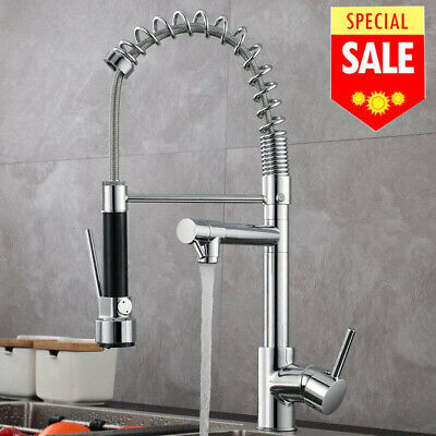 Kitchen Sink Faucet Pull Down Spray Chrome Single Handle 1 Hole Swivel Mixer Tap