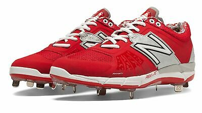 New Balance Low-Cut 3000v2 Metal Baseball Cleat Mens Shoes Red with Silver Size