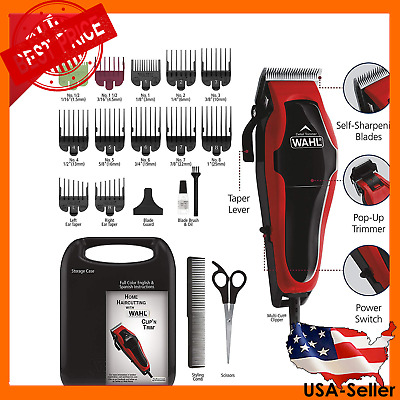 Professional Hair Cut Machine Barber Salon Cutting Clippers Trimmer Kit Wahl