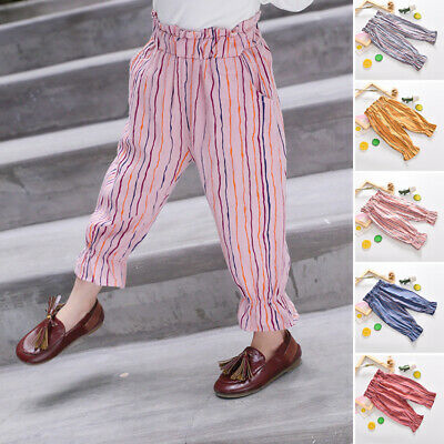 Child Girls Elastic Waist Holiday Casual Trousers Striped Lantern Cropped Pants