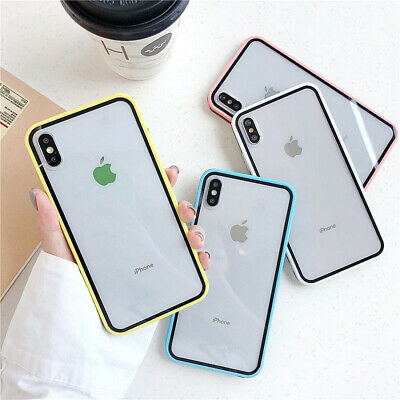 For iPhone Xs Max XR 7 8 6s Plus Shockproof Clear Bumper Hard Phone Case Cover