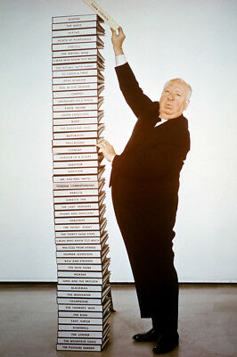Alfred Hitchcock By Stack Of His Film Scripts 24x36 Poster(60x91cm)