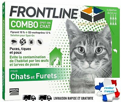 FRONTLINE Combo Chat Anti-puces Anti-tiques Traitement indispensable 6 pipettes