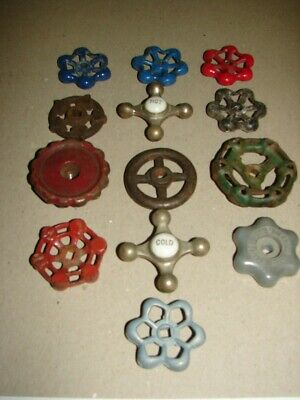 13 Antique/Vintage Spigot Handles Industrial Faucet Hot Cold Crafts Steampunk @@