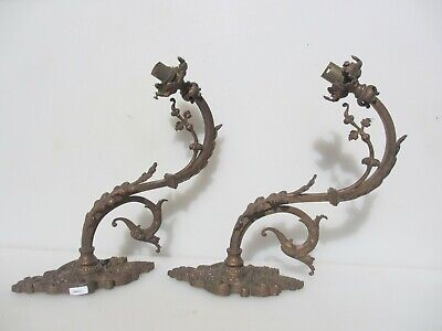 Victorian Brass Gas Wall Lights Sconces Lamps Antique Old French Georgian Lion