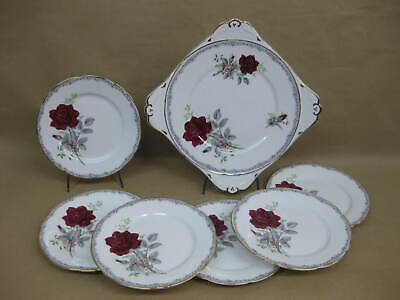 Vintage Royal Stafford China Cake/ Sandwich Plate 6 Tea Plates Roses To Remember