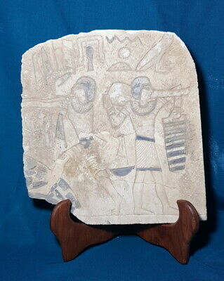 Egyptian Antique Relief Craft Hunting Scene Plaque Stela Wall W/T Hieroglyphics