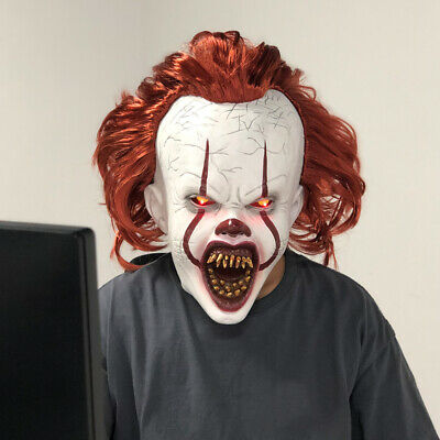 LED Pennywise Mask 2019 It Chapter Two Cosplay Scary Halloween Joker Mask Props