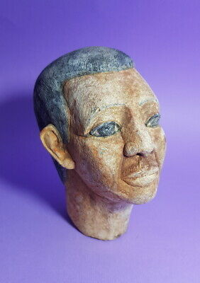 Unique Egyptian Antique Head Bead Mummy Ancient Stone Rare Figurine Sculpture