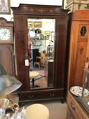 Antique Edwardian Wardrobe Fine Quality Carved Mahogany Mirrored Armoire