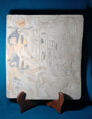 Large Egyptian Antique Relief Craft Anubis & Khnum God Plaque Hieroglyphic Wall