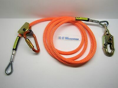 "Climb Right 5/8"" X 12' Wire Core Lanyard Kit W/Rope Grab Carabiner & Swivel Snap"