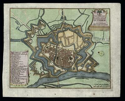 Zutphen city plan Holland Nederland Netherlands c.1750 military fortifications