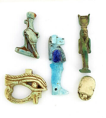 Isis & Anubis &  Scarab & Eye Of Horus Amulets Egypt Antiquities Rare Figures
