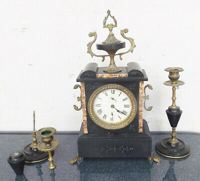 Antique Fireplace/Table Clock Marble Base with 2 Candle Chandeliers -