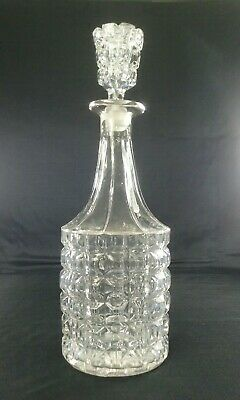 """Antique Glass Blown Mallet Decanter Late Victorian / Early Edwardian 12.5"""" Tall"""