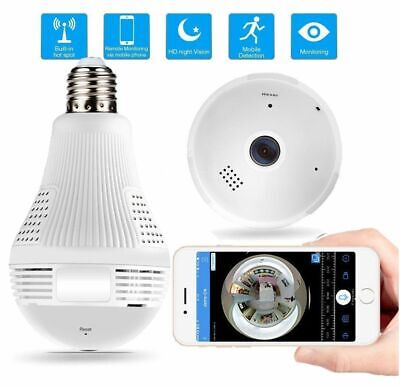Telecamera Wifi Lampadina E27 Led Audio Ip Camera Nascosta Spia Panoramica 360°
